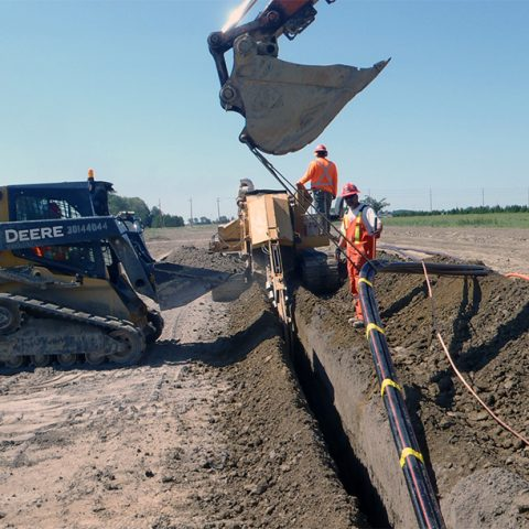 Trenching being done at Cross Winds Energy Park