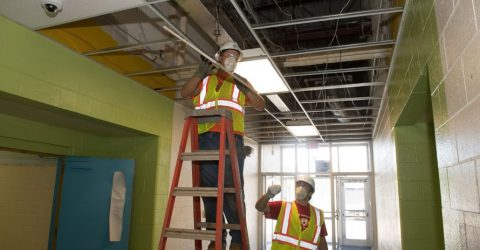 MCE electricians were among the skilled trades people who volunteered.