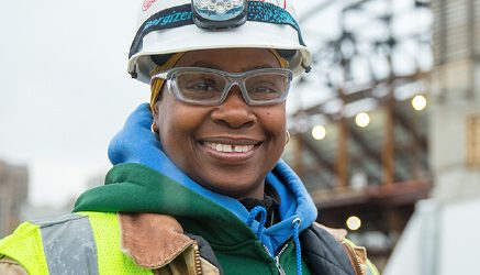 Synnia Snead is an electrical apprentice on the Detroit sports arena project