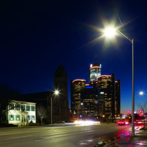 Detroit public lighting at night