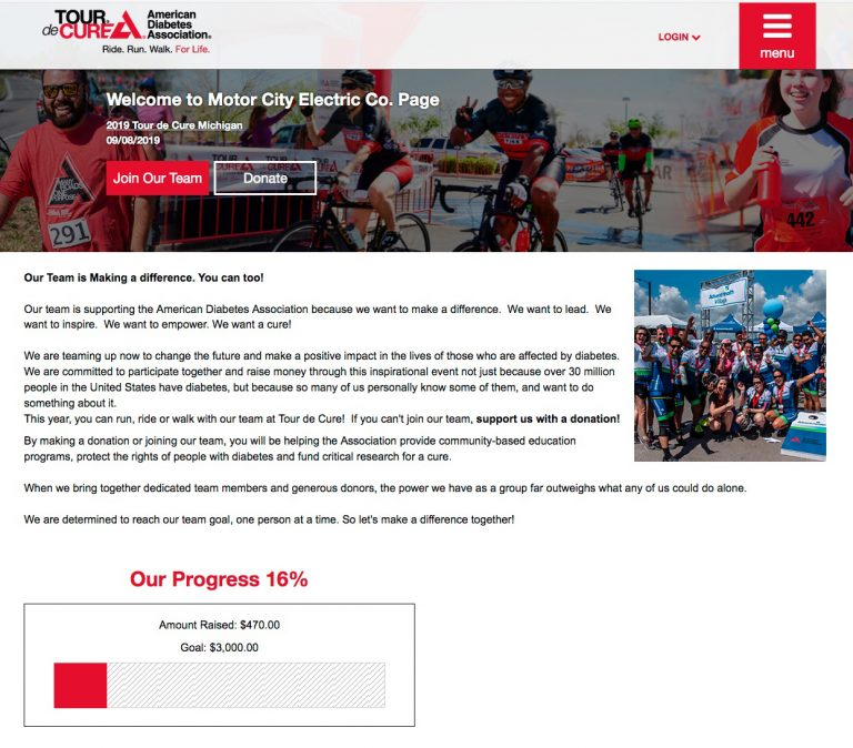 Motor City Electric Co.'s Tour de Cure Page