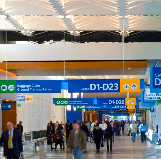 DTW North Concourse Wayfinding with Bright Blue Signage