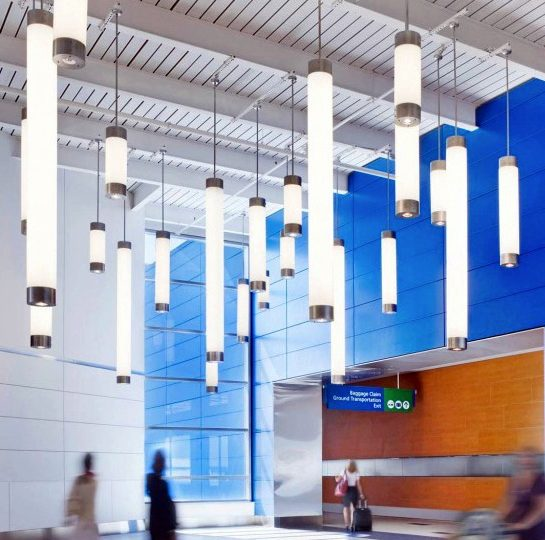 DTW North Terminal Pipe Lights in Concourse